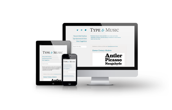Web design showcase image of Type & Music website.