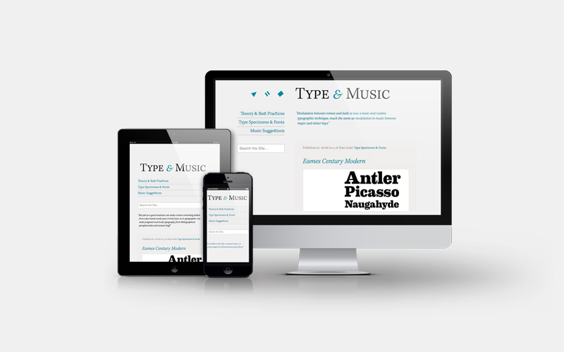 Type and Music responsive showcase image, credit to Pixden.